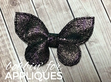 Butterfly Leather 'Pinch' Bow Basic Bow ITH 3D Bow